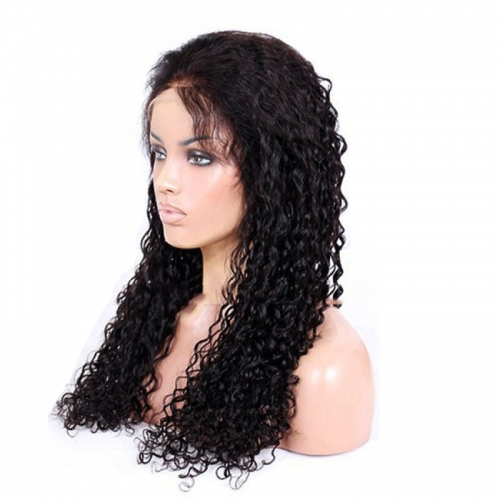 Water Wave Full Lace Wigs With Baby Hair Pre Plucked Human Hair Glueless Wigs 130 Density