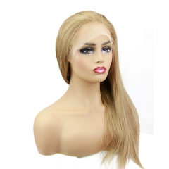 Human Hair Lace Front Wigs 8# Ash Brown Colored Pre Plucked Full Lace Wigs with Baby Hair All Around