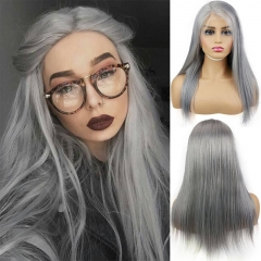 Long Silver Grey Human Hair Full Lace Wig for Women Silky Straight 6inch Lace Front Wig for Sale