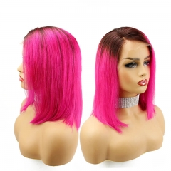 Full Lace Wig Dark Roots Ombre Rose Gold Red Natural Hairline Straight Lace Front Wig Virgin Hair for Women