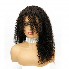 Long Brazilian Jerry Curl hair 180 Density Human Hair Lace Wigs with Bangs Black African American Hairstyles