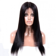 Beauty Light Yaki Straight Full Lace Wig Black Hair 100 Human Hair Wigs Bleached Knots for Women