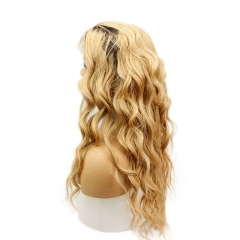 Honey Blonde Ombre 1B 27 Human Hair Lace Front wigs Loose Wave Full Lace Wig for Women 2 Tone