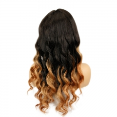 Black Blonde Full Lace 1B 30 Ombre Loose Wave Glueless Lace Front Wig with Baby Hair Pre-Plucked Hairline