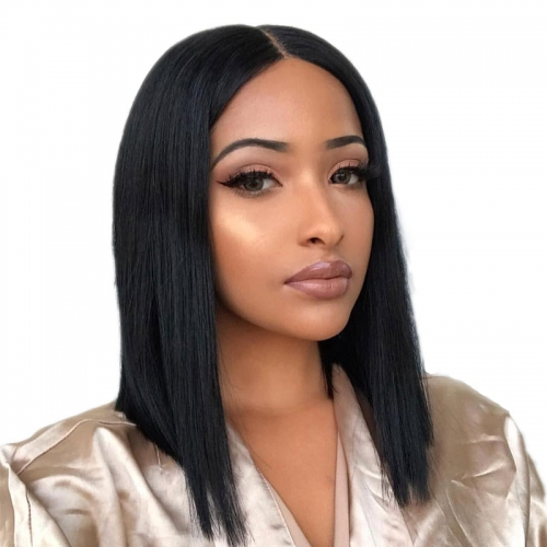 150% Short Straight Lace Front Human Hair Wigs Bob Style Black Bob Cut Wig Pre Plucked for Black Women