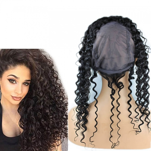 Lace Frontal Closure 13X4 Back With Adjust Strap Cap Brazilian Human hair Water Wave 360 Lace Band 22x4