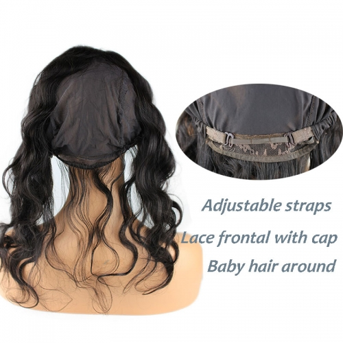 Body Wave Lace Frontal Closure 13X4 Back With Adjust Strap Cap Human Hair 360 Lace Band 22x4