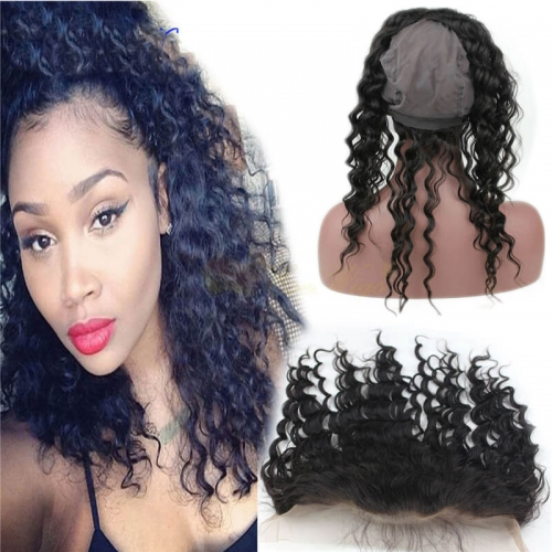 360 Lace Band Frontal Cap Brazilian hair Deep Wave ear to ear lace frontal with baby hair Natural Hairline 360 Full Lace Band Frontal 22x4 with cap