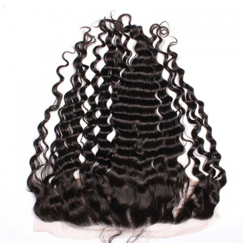 Deep Wave 13x4 Lace Frontal Closure Peruvian Hair Real Human Hair
