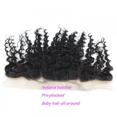 Human Hair Silk Base Ear to Ear Lace Frontal 13x4 Loose Wave Natural Hairline Baby Hair Around