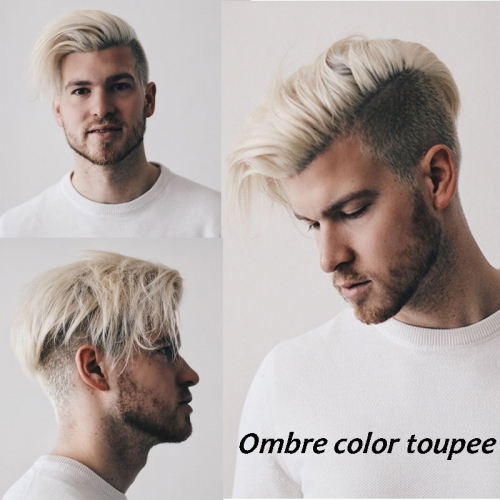 Brown Roots 60# Platinum Blonde Ombre Color Human Hair Mens Toupee for Sale Light Blonde Hairpiece 10x8