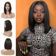 150% Density Middle Part Short Blunt Cut Bob Wig Silky Straight For Black Women With Pre-Plucked Hairline Short Lace Front Human Hair Wigs