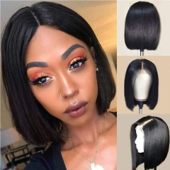 Silky Straight Short Human Hair Wigs For Black Women Remy Hair Lace Front Wigs With Pre Plucked Hairline Blunt Cut Bob Wigs