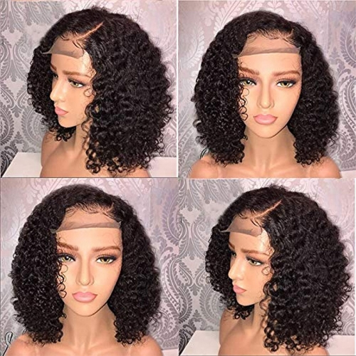 "Short Bob Lace Front Human Hair Wigs Pre Plucked With Baby Hair Curly Brazilian Remy Hair Lace Front Bob Wigs 10""-14"""
