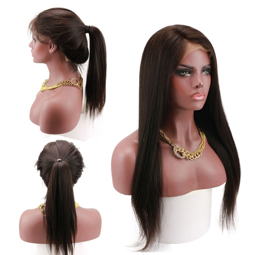 Glueless Full Lace Wig Light Yaki Straight Human Hair Brazilian Remy Pre Plucked Bleached Knots Wig For Black Women 180 Density