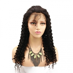 Deep Curly Human Hair Lace Front Wig with Baby Hair Brazilian Remy 180% Density Pre Plucked Natural Hairline Wig