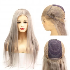 Grey 13x6 Lace Frontal Wigs Human Hair Silky Straight Glueless Full Lace Wigs Silver Grey Brazilian Remy Hair 26 inch