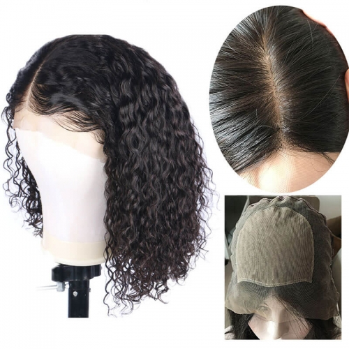 Full Lace Silk Base Wigs Deep Curly Brazilian Remy Human Hair Pre Plucked for Women Black Hair Color 130 Density