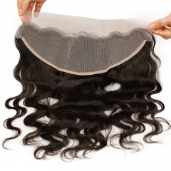 Transparent Lace Frontal 13x4 Body Wave Swiss Lace with Baby Hair Pre Plucked Brazilian Remy Hair Natural Black Color