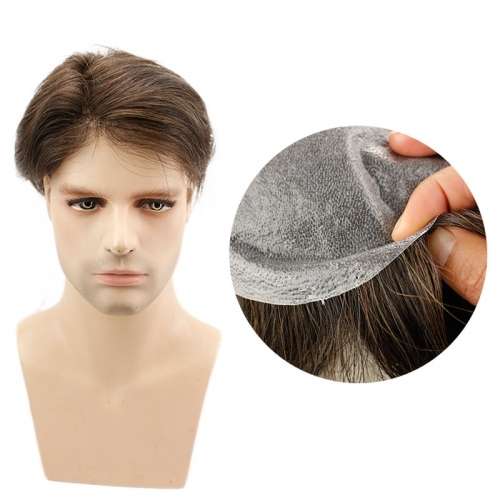 Eseewigs Whole PU Base 4# Brown Toupee for Men Durable Thin Skin Brazilian Remy Human Hair 10x8 inch Straight Hair Replacement