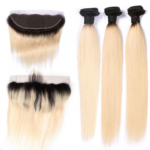 1B/613 Honey Blonde Brazilian Straight Virgin Human Hair 3 Bundles with Lace Closure,Blonde Ombre Bundles with Closure