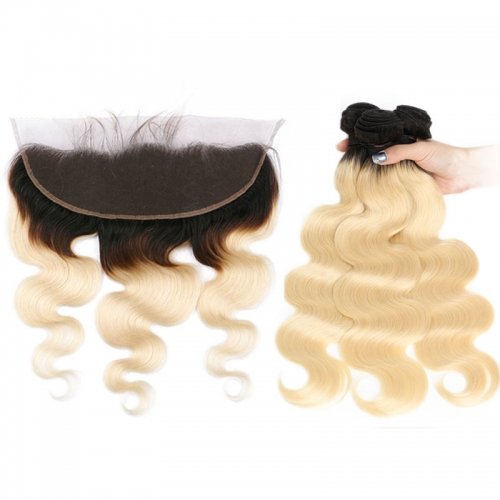 1B/613 Honey Blonde Brazilian Body Wave Virgin Human Hair 3 Bundles with Lace Closure Blonde Ombre Bundles with Closure