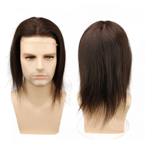 Hairpiece Mono Lace with PU Replacement 12 inch Length Long Straight Toupee Brazilian Remy Human Hair Natural Black Color