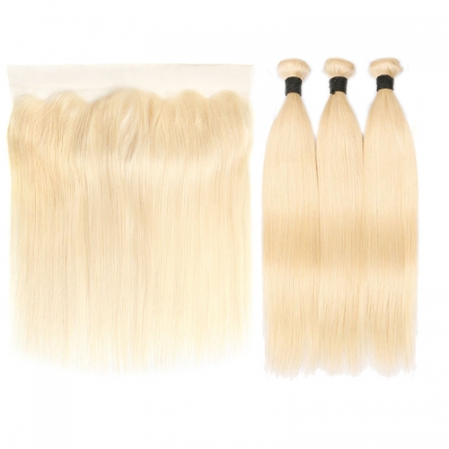 613 Honey Blonde Brazilian Silky Straight Virgin Human Hair 3 Bundles with Lace Closure Blonde Bundles with Closure
