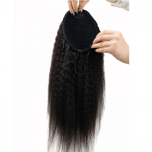 "Kinky Straight Human Hair Ponytail Extensions Clip In Brazilian Remy Hair Bun Drawstring Natural Color 22"" for Women"