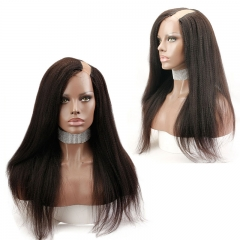 "Italian Yaki U Part Wig Human Hair Wigs Brazilian Remy Hair Full and Thick for Black Women Pre Plucked 1""x4"" Opening"