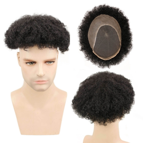 Afro Kinky Curly Human Hair Durable Hairpieces Replacement System For Men Brazilian Remy Human Hair Lace & PU 10*8 1B#