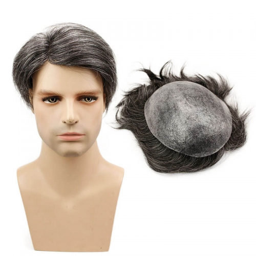 Thin Skin Straight Hair Replacement Brazilian Remy Human Hair Mix 20% Grey Synthetic Hair Toupee for Men 10x8