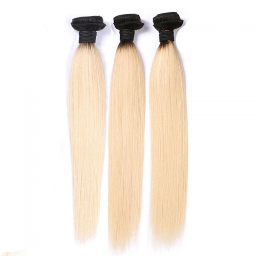 Beauty 1B 613 Ombre Blonde Brazilian Straight Hair Bundles 2 Tone Dark Roots Platinum Remy Human Hair Weave