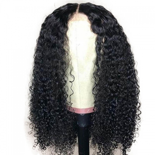 Kinky Curly Glueless Lace Front Human Hair Wigs Brazilian Wig Remy Hair with Pre Plucked Hairline for Black Women 180%