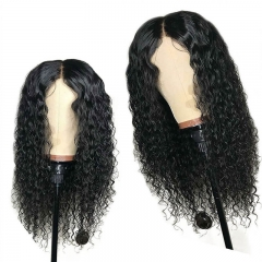 Deep Part Water Wave Lace Front Wig for Black Women Pre Plucked Black Brazilian Remy Human Hair Wig with Baby Hair