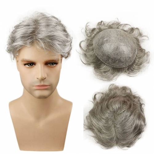 Grey Men`s Toupee Hairpiece Whole PU Base Brazilian Remy Human Hair 1b# Mix 80% Grey Hair Natural Straight 10*8