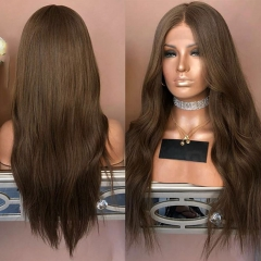 6# Brown Wavy Lace Front Human Hair Wigs Women Middle Part Glueless Full Lace Wigs with Baby Hair Around