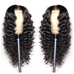 Deep Wave 13X6 Lace Front Human Hair Wigs For Black Women Pre Plucked Bazilian Remy Hair Bleached Knots with Baby Hair