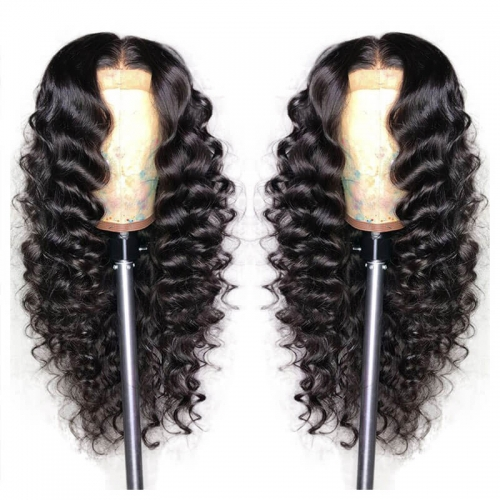 Deep Wave Lace Front Human Hair Wigs For Black Women Pre Plucked Bazilian Remy Hair Bleached Knots with Baby Hair