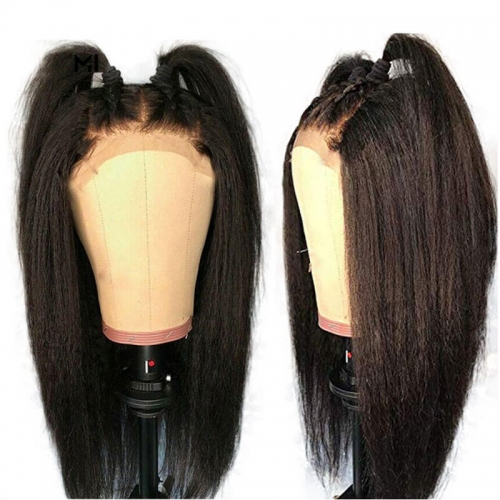Pre Plucked Lace Front Wig Kinky Straight Human Hair for Women Black Color Brazilian Remy Hair Natural Hairline