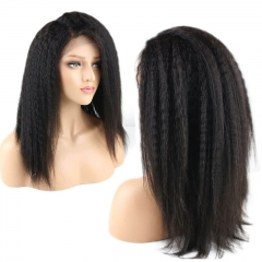 Kinky Straight Hair 360 Lace Frontal Wig Pre Plucked with Baby Hair Lace Front Brazilian Remy Human Hair Wigs for Women