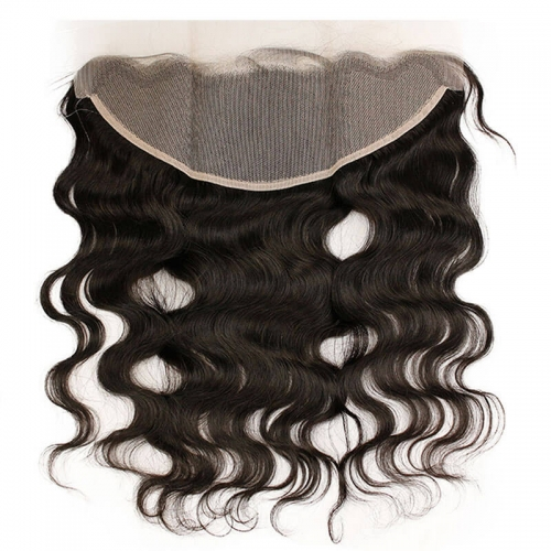 HD Transparent Lace Frontal 13x4 Body Wave Swiss Lace with Baby Hair Pre Plucked Brazilian Remy Hair Natural Black Color