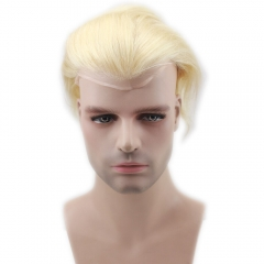 Eseewigs Blonde Human Hair Men Toupee 613 Color Straight European Remy Hair Swiss Lace Front Toupee Skin Full Hand Made for Man