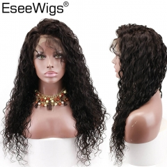 EseewigsTransparent Full Lace Wigs Glueless Pre Plucked Natural Hairline With Baby Hair Water Wave Brazilian Remy Human Hair