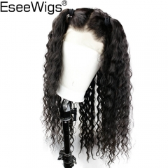 Eseewigs Wigs For Black Women Natural Color Deep Wave Remy Human Hair Lace Front Wig Pre Plucked Hair Line with Baby Hair Around