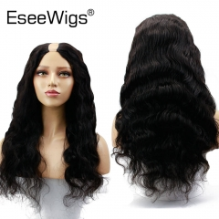 Eseewigs U Part Wig 1*4 With Swiss Lace Natural Color Wavy Brazilian Remy Human Hair Wig with Combs Straps Middle Part For Women