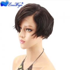 Eseewigs Short Lace Front Human Hair Wigs Bob Side Part Remy Human Hair Glueless Lace Wig For Women Baby Hair Pre Plucked Wavy