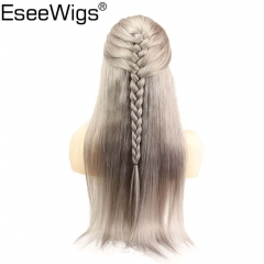 Eseewigs Straight Lace Front Wig Pre Plucked Sliver Grey Brazilian Remy Human Hair 13X6 Lace Frontal Wigs With Baby Hair Around