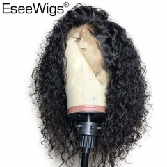 Eseewigs 13x6 Deep Parting Lace Front Wigs Natural Color Curly Hair Wig Pre Plucked with Baby Hair Around Brazilian Remy Hair
