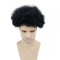 Eseewigs Afro Kinky Curly Human Hair Men's Toupee Brazilian Remy Hair Toupee with Lace Front and PU Back Full Hand Made Wig